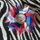 Bottlecap Flower Patriotic USA Flag Heart Hair Bow ~ Free Shipping