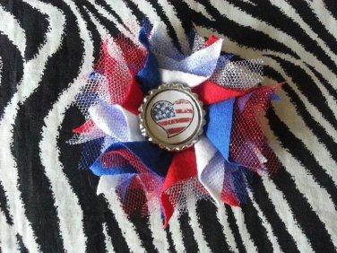 Bottlecap Flower Patriotic USA Flag Heart Hair Bow ~ Free Shipping