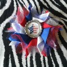Bottlecap Flower Patriotic USA Star Flag Hair Bow ~ Free Shipping