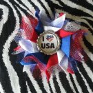 Bottlecap Flower Patriotic I Love USA Hair Bow ~ Free Shipping