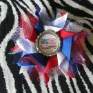 Bottlecap Flower Patriotic USA Flag Hair Bow ~ Free Shipping