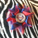 Sporty Bottlecap Tulle Flower MLB Baseball Philadelphia Phillies Hair Bow ~ Free Shipping