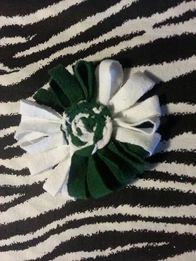 Loopy Flower FIFA World Cup White Green Hair Bow ~ Free Shipping