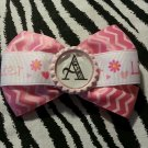 "Bottlecap Bowtie Little Sister ""A"" Pink Chervon Initial 4"" Hair Bow ~ Free Shipping"