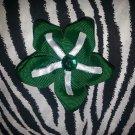 Fabric Flowers Green White Rhinestone 3 inch Hair Bow~Free Shipping