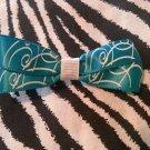 Simply Cute Teal Blue White Swirls 3 x 1 inch Hair Bow Clip ~ Free Shipping