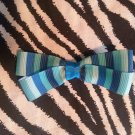 Simply Cute Shades of Blue Stripes 3 x 1 inch Hair Bow Clip ~ Free Shipping