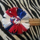 Loopy Flower White Red Blue Hair Bow ~ Free Shipping