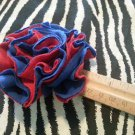 Ruffle Flower Red Blue Hair Bow Clip ~ Free Shipping