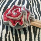 Ruffle Flower Red Gray Hair Bow Clip ~ Free Shipping