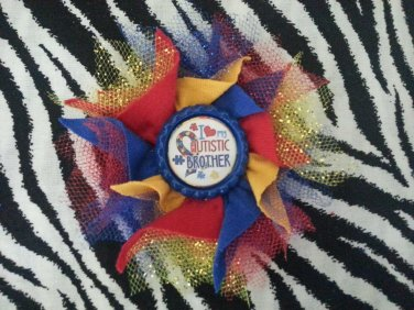 Bottlecap Flower Autism Awareness Love My Brother Hair Bow ~ Free Shipping