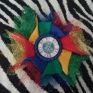Bottlecap Flower Autism Awareness World Globe Hair Bow ~ Free Shipping