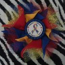 Bottlecap Flower Autism Awareness Ribbon Hair Bow ~ Free Shipping