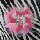 Bottlecap Flower Autism Awareness Pink Hair Bow ~ Free Shipping