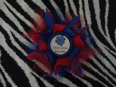 Bottlecap Flower Autism Awareness Think Before You Judge Hair Bow ~ Free Shipping