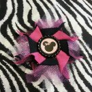 "Disney Minnie Mouse Inspired Flower Black Pink Tulle 4"" Hair Bow ~ Free Shipping"