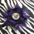 "Disney Minnie Mouse Inspired Flower Black Purple Tulle 4"" Hair Bow ~ Free Shipping"