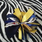 Cheer-riffic Pom Pom I Love Football Navy Blue Yellow Gold Hair Bow Clip ~Free Shipping