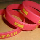 Spain Country Flag Silicone Rubber Bracelet Sport Unisex Fashion Multi Color Wristband