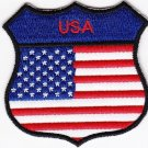 USA United States Country Flag Shield Logo Embroidered Iron On Heat Seal Backing Patch 7 X 7 Cm