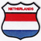 Netherlands Country Flag Shield Logo Embroidered Iron On Heat Seal Backing Patch 7 X 7 Cm