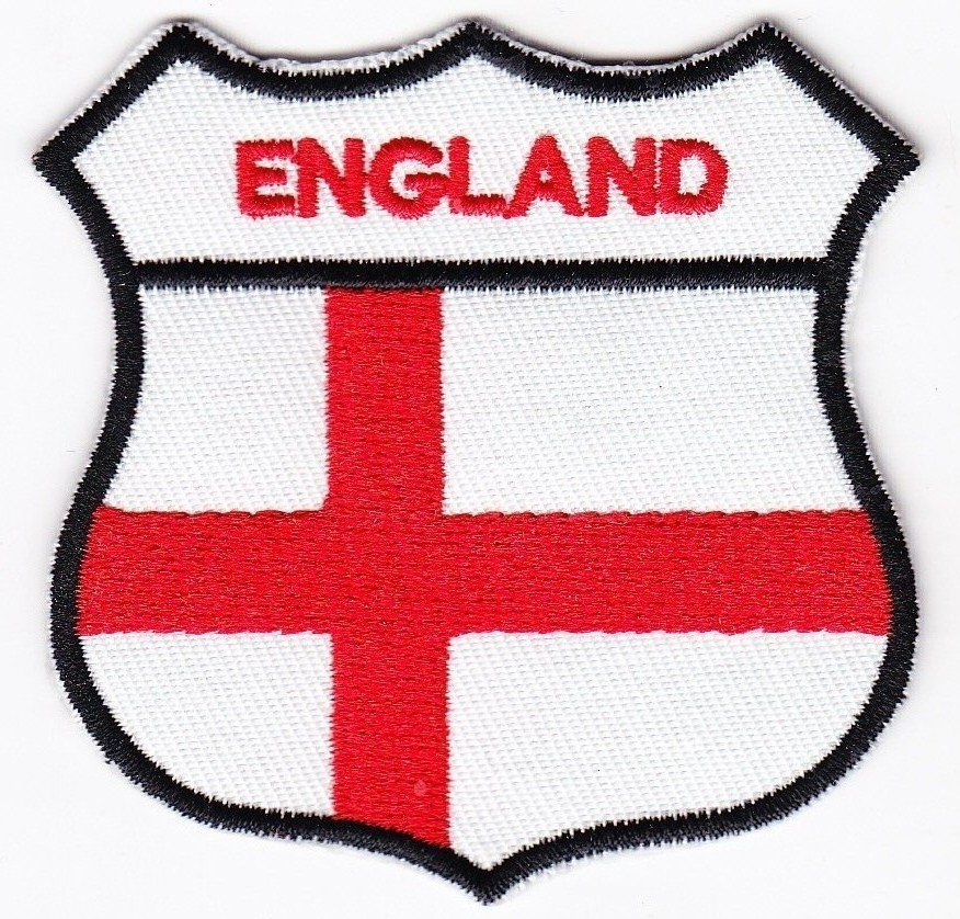 England Country Flag Shield Logo Embroidered Iron On Heat Seal Backing Patch 7 X 7 Cm