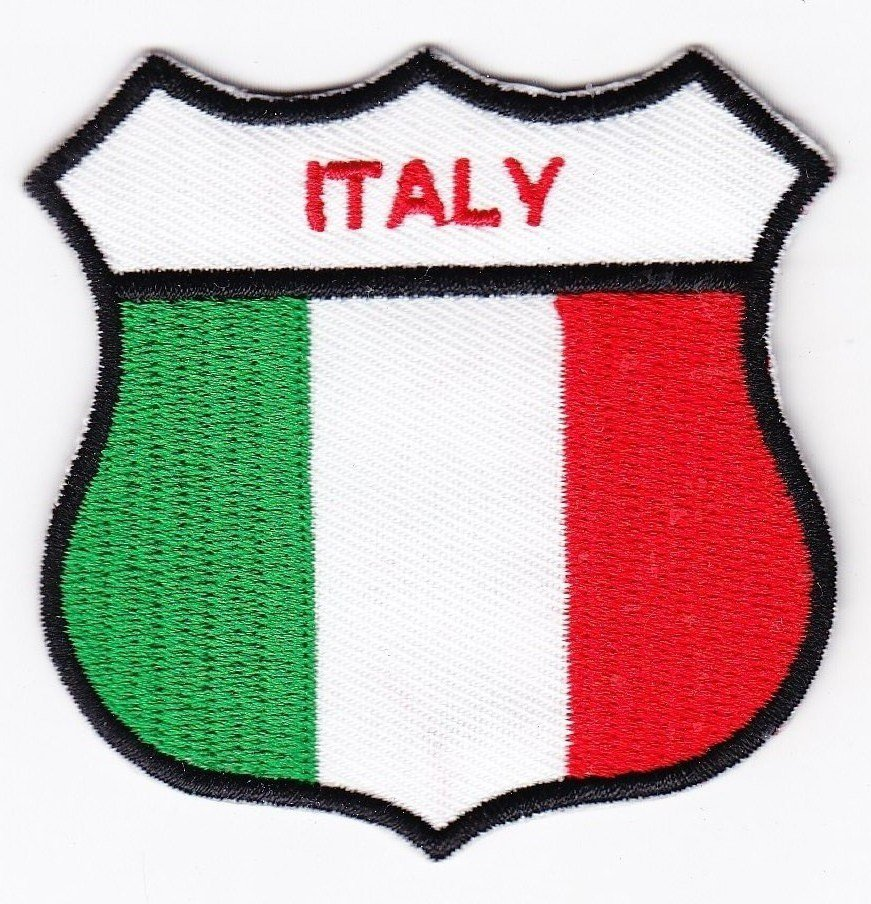 Italy Country Flag Shield Logo Embroidered Iron On Heat Seal Backing Patch 7 X 7 Cm