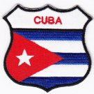 Cuba Country Flag Shield Logo Embroidered Iron On Heat Seal Backing Patch 7 X 7 Cm