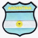 Argentina Country Flag Shield Logo Embroidered Iron On Heat Seal Backing Patch 7 X 7 Cm