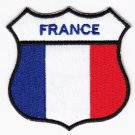 France Country Flag Shield Logo Embroidered Iron On Heat Seal Backing Patch 7 X 7 Cm