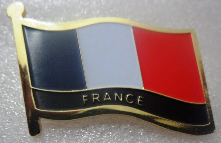 FRANCE Metal Brass Alloy Lapel Pin Country Flag Logo Soft Enamel Emblem Badge Button