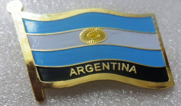 ARGENTINA Metal Brass Alloy Lapel Pin Country Flag Logo Soft Enamel Emblem Badge Button