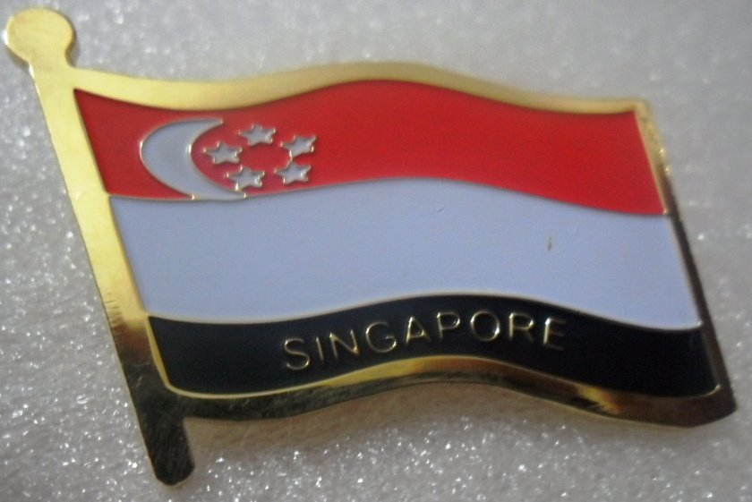 SINGAPORE Metal Brass Alloy Lapel Pin Country Flag Logo Soft Enamel Emblem Badge Button