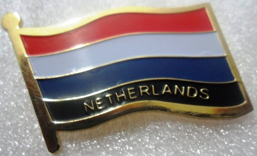 NETHERLANDS Metal Brass Alloy Lapel Pin Country Flag Logo Soft Enamel Emblem Badge Button