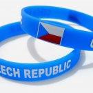 Czech Republic Country Flag Silicone Rubber Bracelet Sport Unisex Fashion Multi Color Wristband