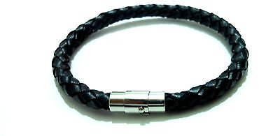 Men Unisex Stainless Steel 316 L 6 mm Black Genuin Leather Bracelet  Magnetic Clasp Bangle Wristband