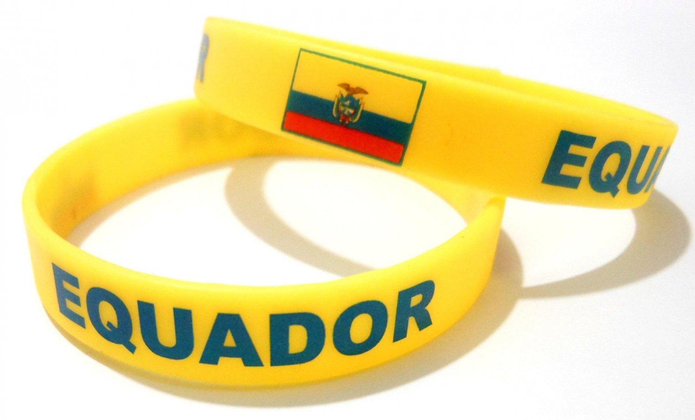 Equador Country Flag Silicone Rubber Bracelet Sport Unisex Fashion Multi Color Wristband