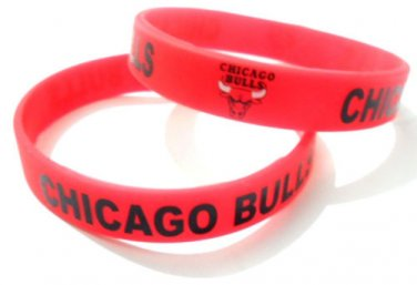 Nba Chicago Bulls Team Silicone Rubber Bracelet Sport Uni Fashion Multi Color Wristband Cuff