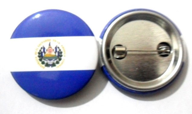 El Salvador National Country Flag Button Badge Lapel Pin Tin Plate 30 mm Diameter