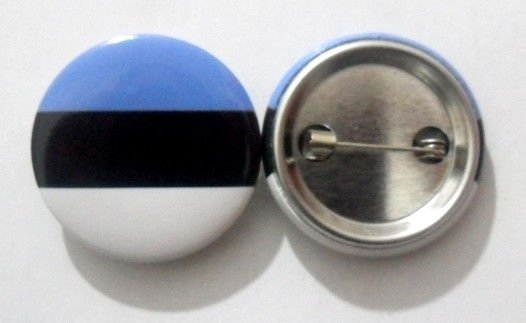 Estonia National Country Flag Button Badge Lapel Pin Tin Plate 30 mm Diameter