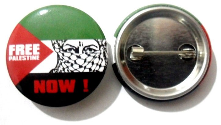 Free Palestine Now National Country Flag Button Badge Lapel Pin Tin Plate 30 mm Diameter
