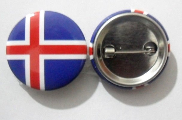 Iceland National Country Flag Button Badge Lapel Pin Tin Plate 30 mm Diameter