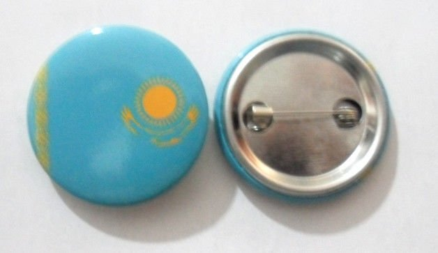 Kazakhstan National Country Flag Button Badge Lapel Pin Tin Plate 30 mm Diameter