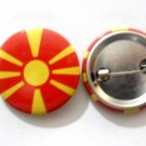 Macedonia National Country Flag Button Badge Lapel Pin Tin Plate 30 mm Diameter