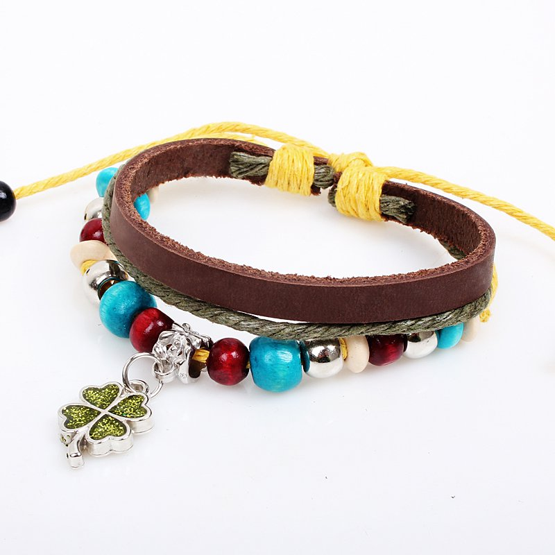 Unisex Butterfly Leather Pendant Bracelet Surfer Tribal Cuff Handmade Bangle Wood beads Wristband