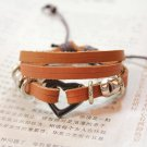 Unisex Heart Leather Pendant Bracelet Surfer Tribal Cuff Handmade Bangle Wood beads Wristband