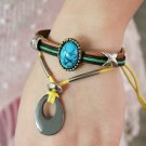 Unisex Blue Leather Pendant Bracelet Surfer Tribal Cuff Handmade Bangle Wood beads Wristband