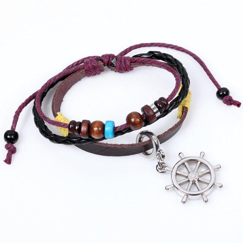 Unisex Rudder Leather Pendant Bracelet Surfer Tribal Cuff Handmade Bangle beads Wristban
