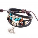Unisex Fish Leather Pendant Bracelet Surfer Tribal Cuff Handmade Bangle beads Wristband