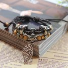 Unisex Feather Leather Pendant Bracelet Surfer Tribal Cuff Handmade Bangle Beads Wristband